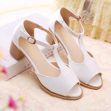 2015 spring and summer princess open toe thick heel with the sandals comfortable sexy women's shoes