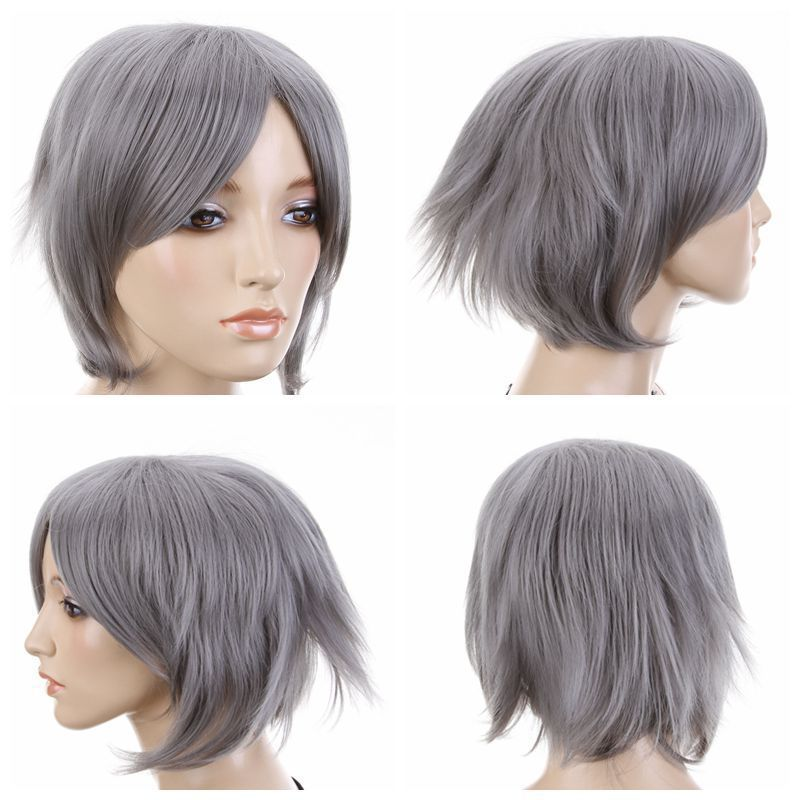 Anime Costume Grey Short Straight Fancy Dress Costume Wig synthetic queen Unisex male man's Kanekalon hair no lace Front Wigs(China (Mainland))