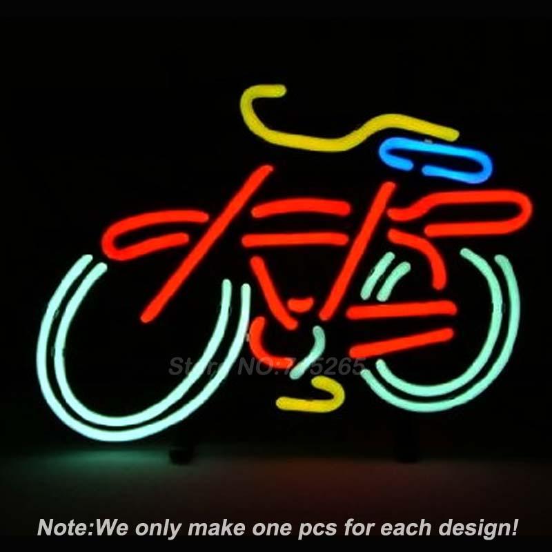 Fat Tire Bicycle Bike Logo Neon Light Sign Real Glass Tube Handcraft Custom LOGO Neon Bulbs Recreation Room Wall Sign 17x14(China (Mainland))