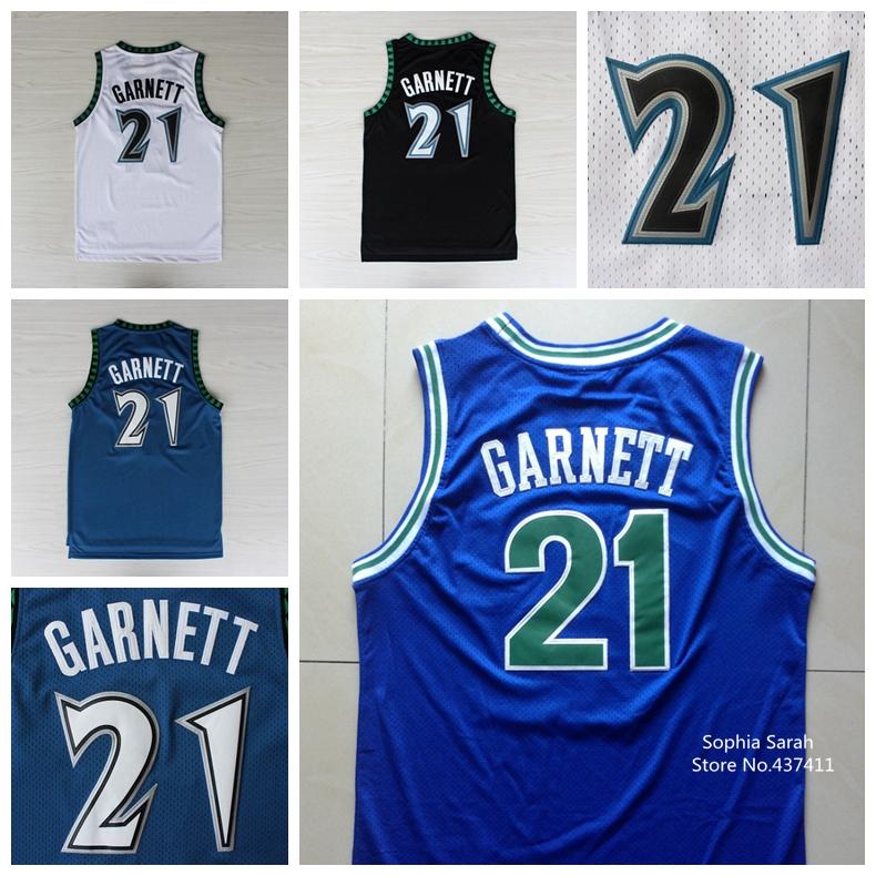 Kevin Garnett Jersey,#21 Kevin Garnett White Blue Black Throwback Vintage Retro Basketball Jerseys,Embroidery Lgos(China (Mainland))