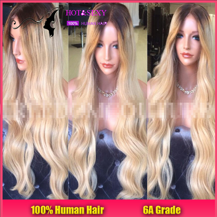 New Blonde human silk top full lace wig brazilian virgin hair 150 density body wave glueless silk base full lace wig for sale(China (Mainland))