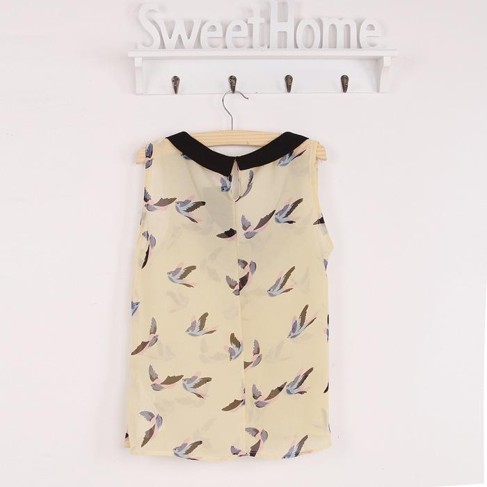 New women auturn Sleeveless Chiffon Bird Printed ladies blouse Shirt Blouses spot shirt bird casual vest blusas femininas(China (Mainland))