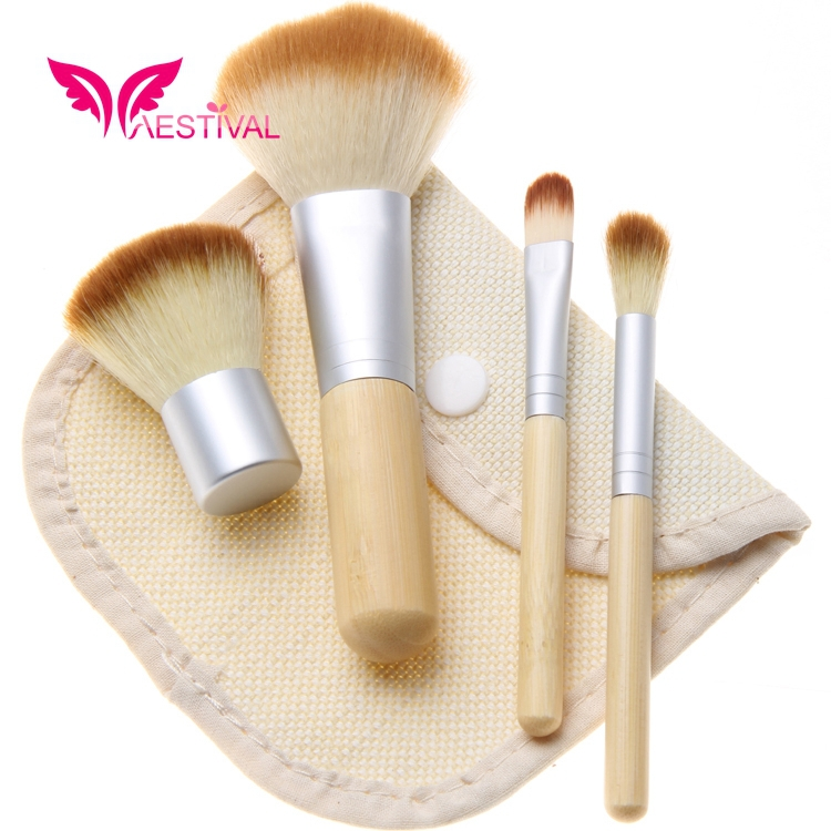 2015 New Arrival ,Xaestival Professional 4 Pieces Fiber Hair Bamboo Handle Cosmetic Makeup Brushes Set with Case Free Shipping(China (Mainland))
