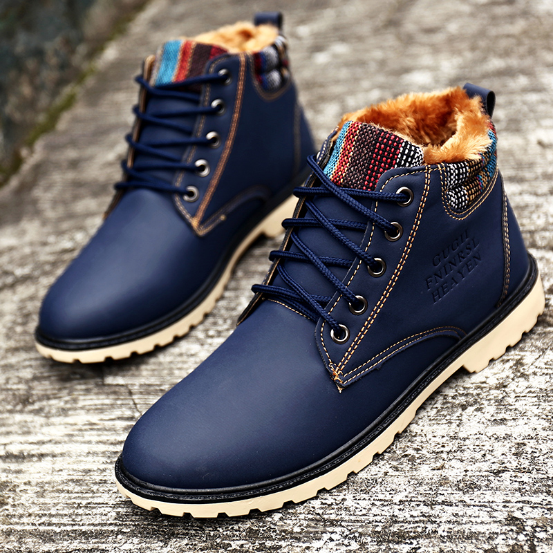 winter boots waterproof fashion blue boots with fur