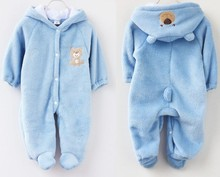 2014 new animal style baby bodysuit baby clothes climbing coral fleece cotton-padded winter children's clothing(China (Mainland))