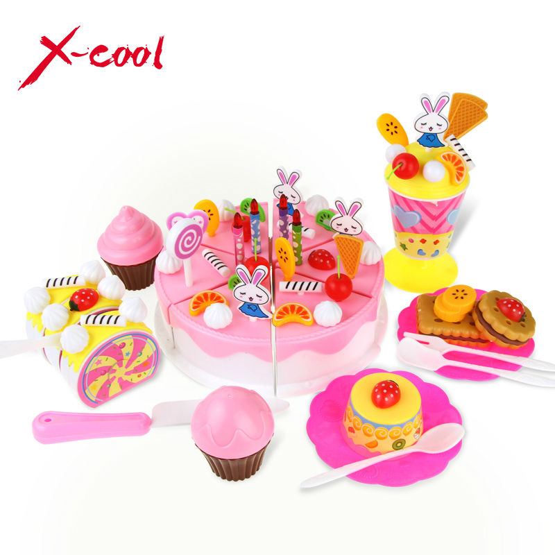 45pcs/set DIY Fruitcake Cookware Set Ice cream Fruit Birthday Cake Children Kitchen Kid Educational Toy Pretend Play house Set(China (Mainland))