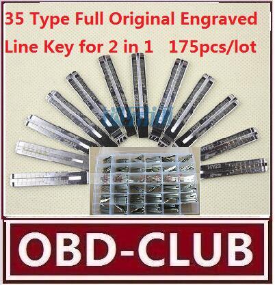 175pcs/lot 35 Type Full Original Engraved Line Key for 2 in 1 LiShi scale shearing teeth blank car key locksmith tools supplies(China (Mainland))