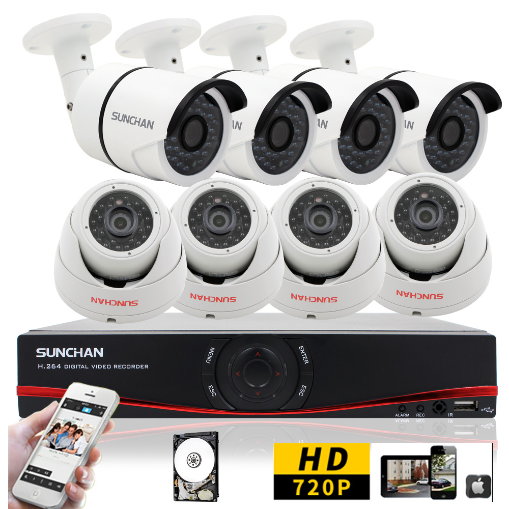 SUNCHAN New 8CH AHD DVR Kit 720P NVR Night Vision CCTV 1.0MP Waterproof 1200TVL Home DVR Security Camera Systems Kits 1TB HDD(China (Mainland))