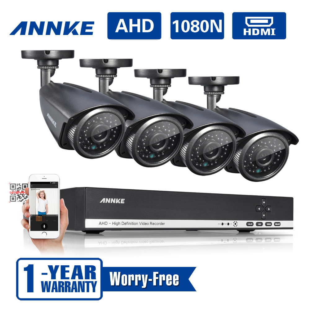 Brand new Annke 4CH HD 720P H264 DVR Outdoor CCTV Camera System CCTV kits IR cut P2P weatherproof home video security system(China (Mainland))