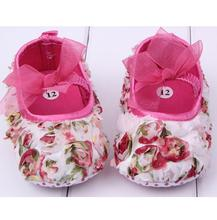 Baby Girl Shoes Newborn Baby First Walkers 2016 Spring New Infant Girl Shoes Rose Flower Pattern Brand Baby Shoes with Bow(China (Mainland))