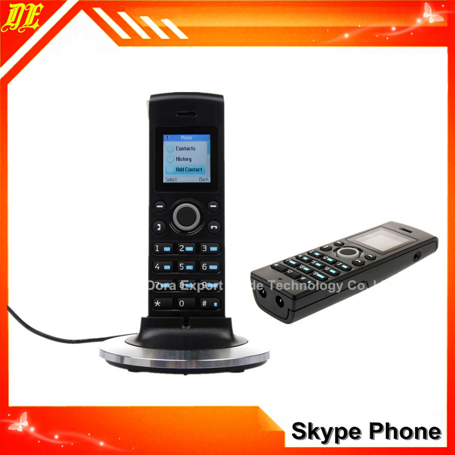 Black Color Dualphone Skype & Landline Phone DECT phone W4088 using Cordless SKYPE phone wireless skype phone(China (Mainland))