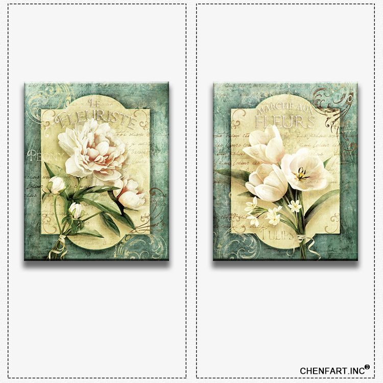 Hot sells 2panels flowers one set Painting Canvas Living Room wall art Home Decoration Modern oil Painting printed(China (Mainland))