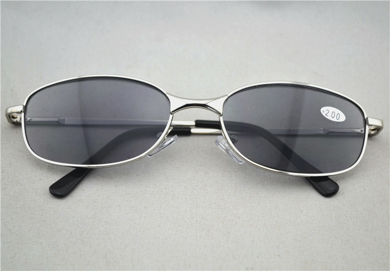 Retro Women Men Sun Readers Metal Frame Gray Lens Sun ...