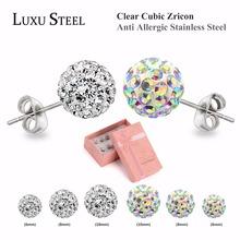 Fashion White And Multicolour Cz Zircon Clay Beads Earrings Rhinestone Shamballa Earrings Set Fashion Jewelry Wholesale(China (Mainland))