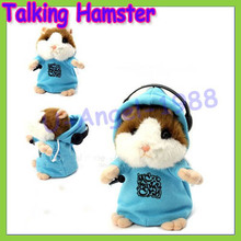 Free shipping+Talking Hamster Mouse Vole Headphone Pet Plush Toy Hot Cute Speak Talking Sound Record Hamster Drop Ship Wholesale(China (Mainland))