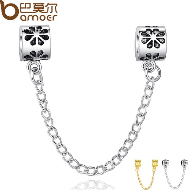 Оригинальные 925 серебряных шарм Fit пандора цветок безопасности обрыва цепи шарм ...