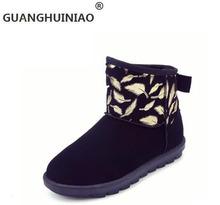 El nuevo 2017 de algodón caliente zapatos de las mujeres planas con zapatos de moda y cómodo bowknot mujeres desnudas botas de invierno(China (Mainland))