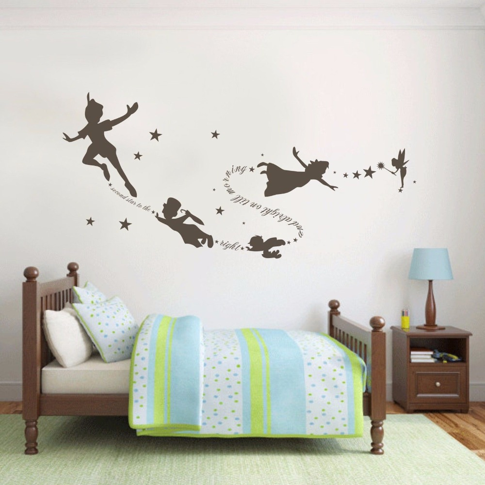 Peter pan wall art online get cheap peter pan wall for Cheap wall mural decals