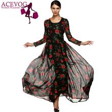ACEVOG Summer Dress Fashion Women Ladies Tunic Maxi Long Chiffon Dress Black White Floral Plus Size S-XXXL Vestidos Long Sleeve(China (Mainland))