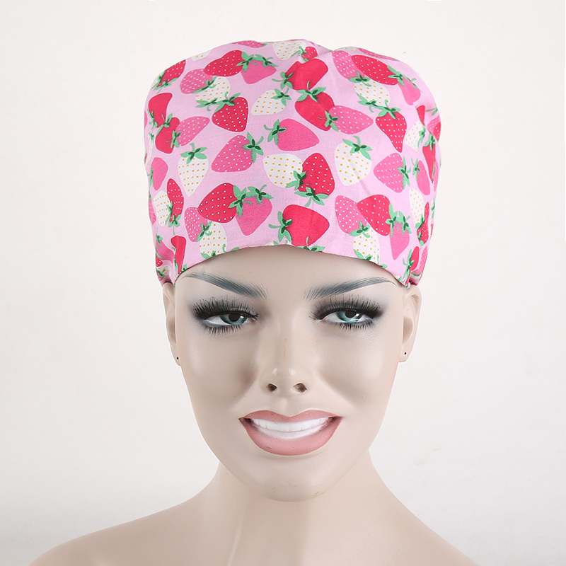 Cotton Women Nurses/Doctors Fruit Strawberry Print Scrub Skull Cap Surgery Medical Surgical Hat(China (Mainland))