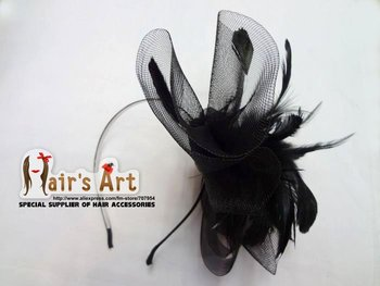 12pic/lot Ruffled Net Flower Alice Band Feather Fascinator Prom Bride Wedding Head band Hen Party Hair Accessories