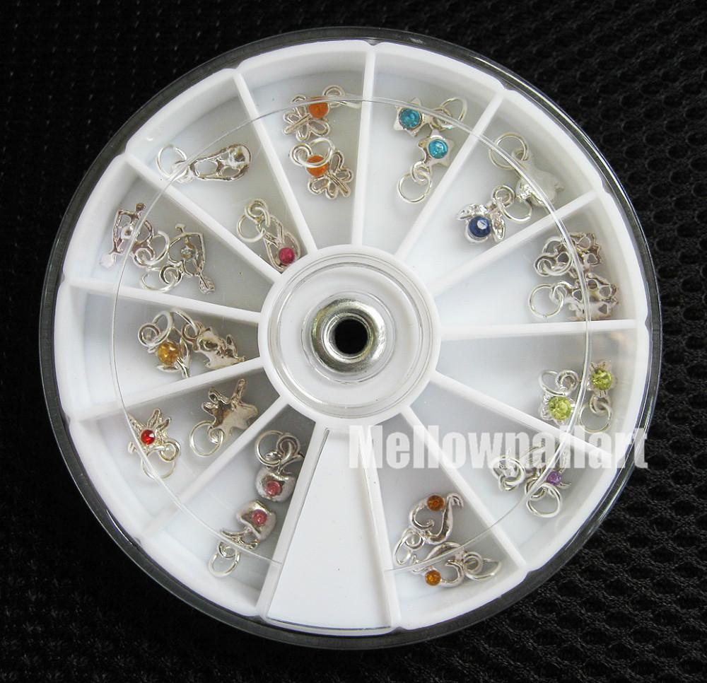 Fashion 24 Pcs Metallic Rhinestone Nail Art Designs Tools Acrylic Tips UV Gel Decorations Dangles Rings Wheel 12 Styles Hotting<br><br>Aliexpress