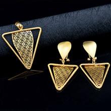 סאני תכשיטי טרנדי משולש תכשיטי סטים לנשים שרשרת עגילי תליון תכשיטי סטים עבור מסיבת חתונה אירוסין תכשיטים(China)