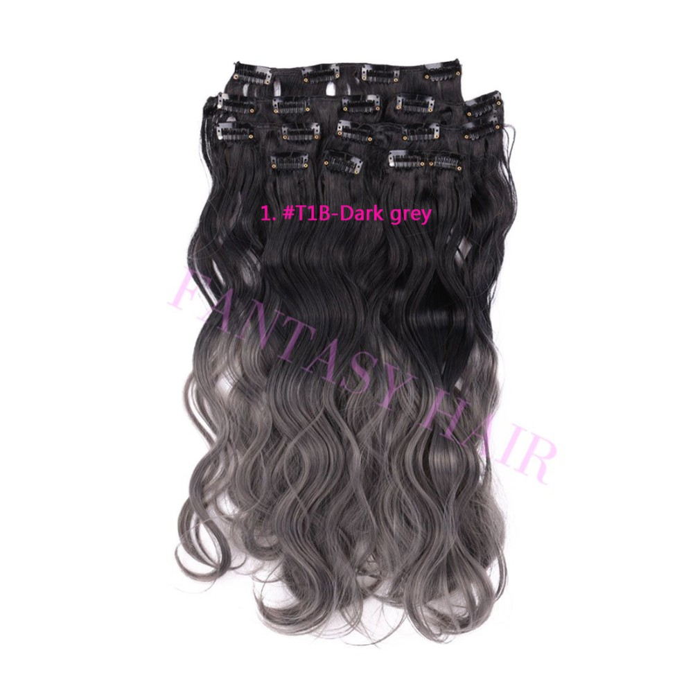 8pcs/lot 18inch black and grey ombre hair Brazilian synthetic body wave full head clip in hair extensions weave heat resistant