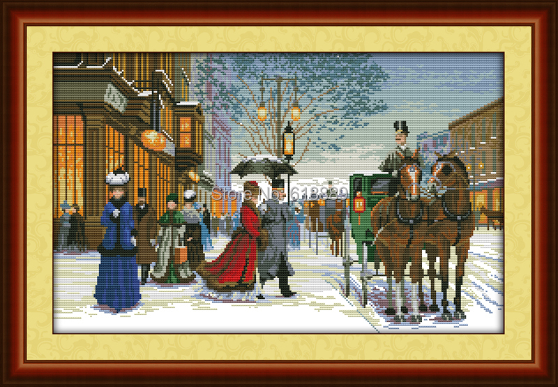 Twilight in Foreign Country Counted 11CT 14CT DMC Cross Stitch DIY Dimension Cross Stitch Kits for Embroidery Needlework Crafts(China (Mainland))