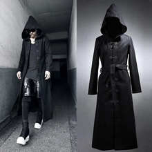 New Design Men's Gothic Rock Thick Long Hooded Coat 2017 Fashion Slim Men Outerwear Classic Single Breasted Cool Trench Coat(China (Mainland))
