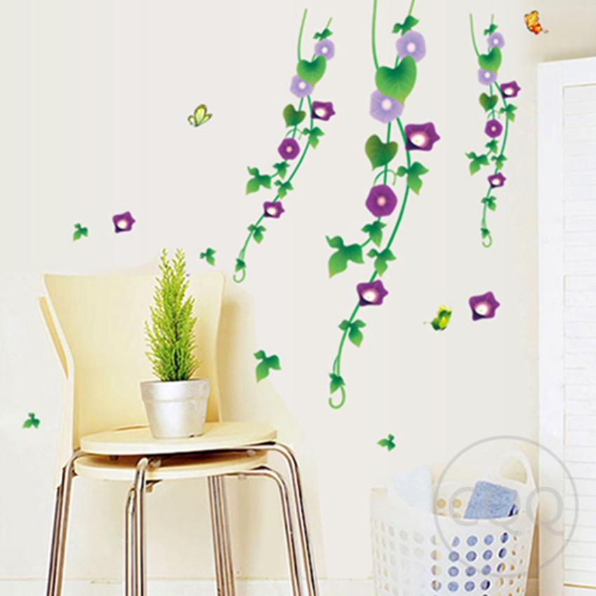 Spanish vinyl flowers wall sticker home decor diy adhesive for Adhesive decoration