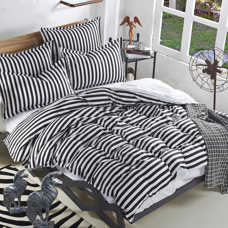 Fashion White/Black Stripes Boy/Girl Bedding Set 4pcs Comforter/Duvet/Quilt Cover Sheet Pillowcase Bed Linen Sets Cotton Fabric(China (Mainland))