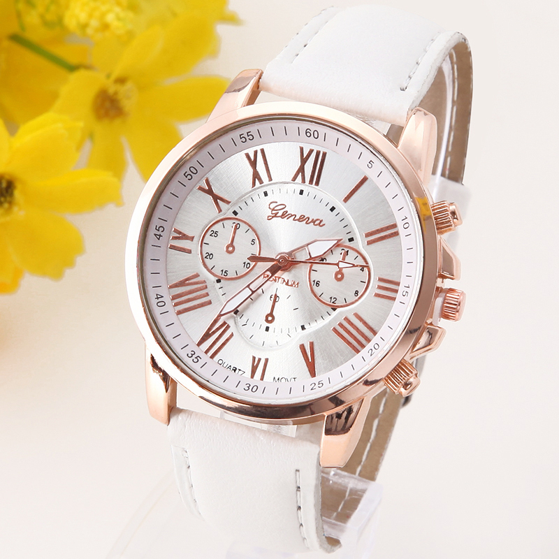 NEW Best Quality Geneva Platinum Watch Women PU Leather wristwatch casual dress watch reloj ladies gold gift Fashion Roman(China (Mainland))