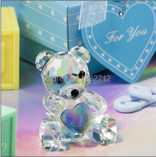 Blue Choice Crystal Collection teddy bear figurines wedding favors birthday party gifts centerpieces accessories baby shower(China (Mainland))
