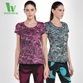 2016 New Summer Women Fitness Wear Short Sleeved Printed Tights Aerobics Yoga Sports Jerseys Mallas Running