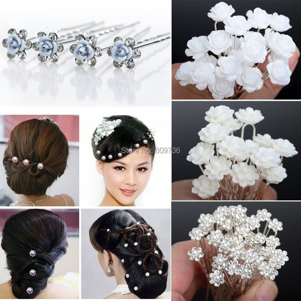 Wholesale 20/40PCS Wedding Bridal Pearl Hair Pins Flower Crystal Hair Clips Bridesmaid Jewelry 5 Styles U Pick Free Shipping(China (Mainland))