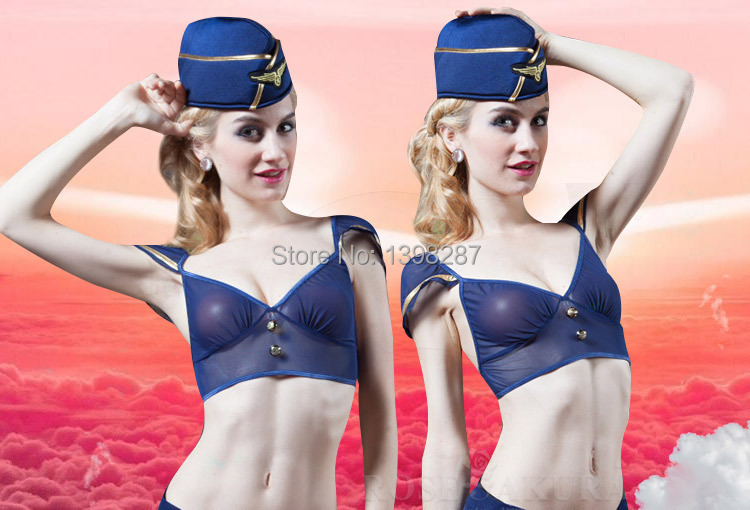Luo Ying-end ultra-thin transparent gauze sexy lingerie live action role-playing uniforms temptation stewardess(China (Mainland))
