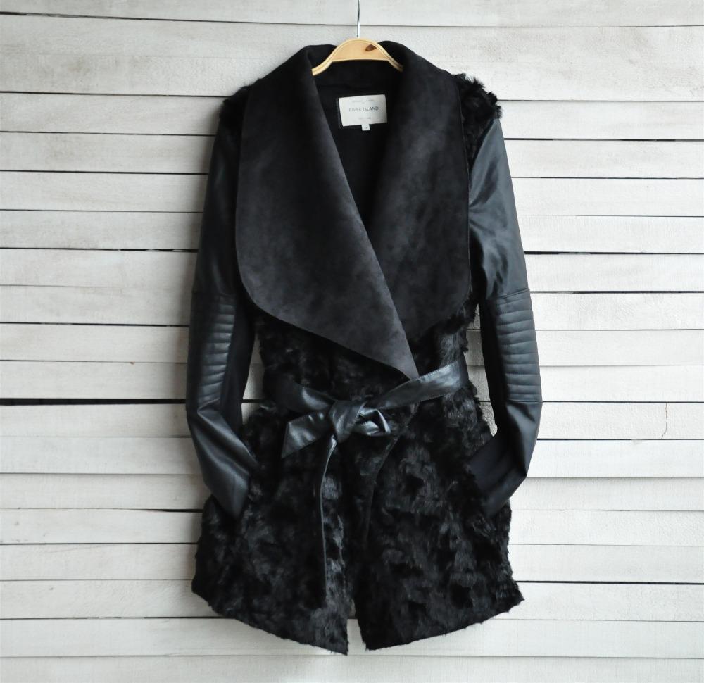 The 2015 Ladies Fashion Fur Coat Jacket Leather Pu#liw0119(China (Mainland))