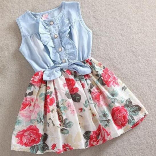 1PC Baby Girls Dress Bow Ruffle Denim Flower Dresses Kids Clothes 2015 Summer Princess Dress Vestidos ZZ3163AB(China (Mainland))
