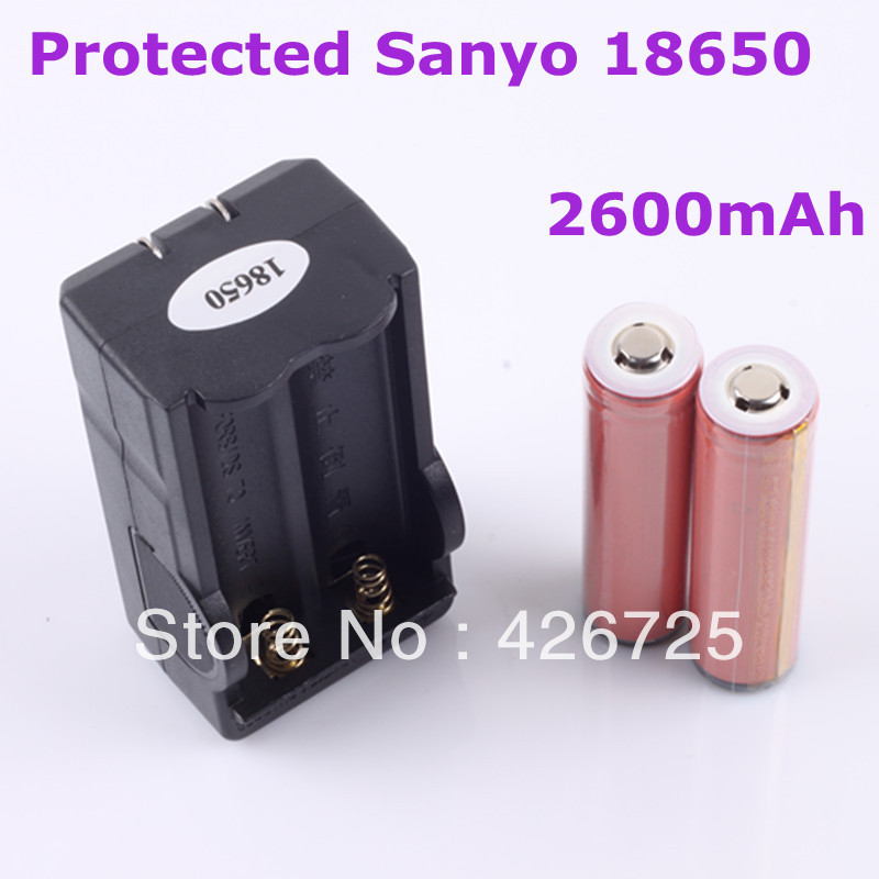 2PCS Sanyo 18650 Li-ion Rechargeable battery 2600mAh with PCB + 1pcs Smart Charger With Anti-overcharge Free shipping(China (Mainland))