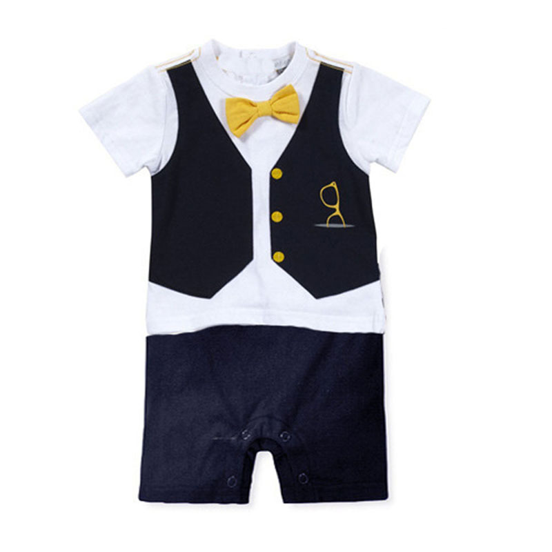Summer Toddler Boys Overalls Boy Suit Infant Baby Boy Formal Party Bow Tie Suit Romper Jumpsuit Outfit Clothes Hot(China (Mainland))
