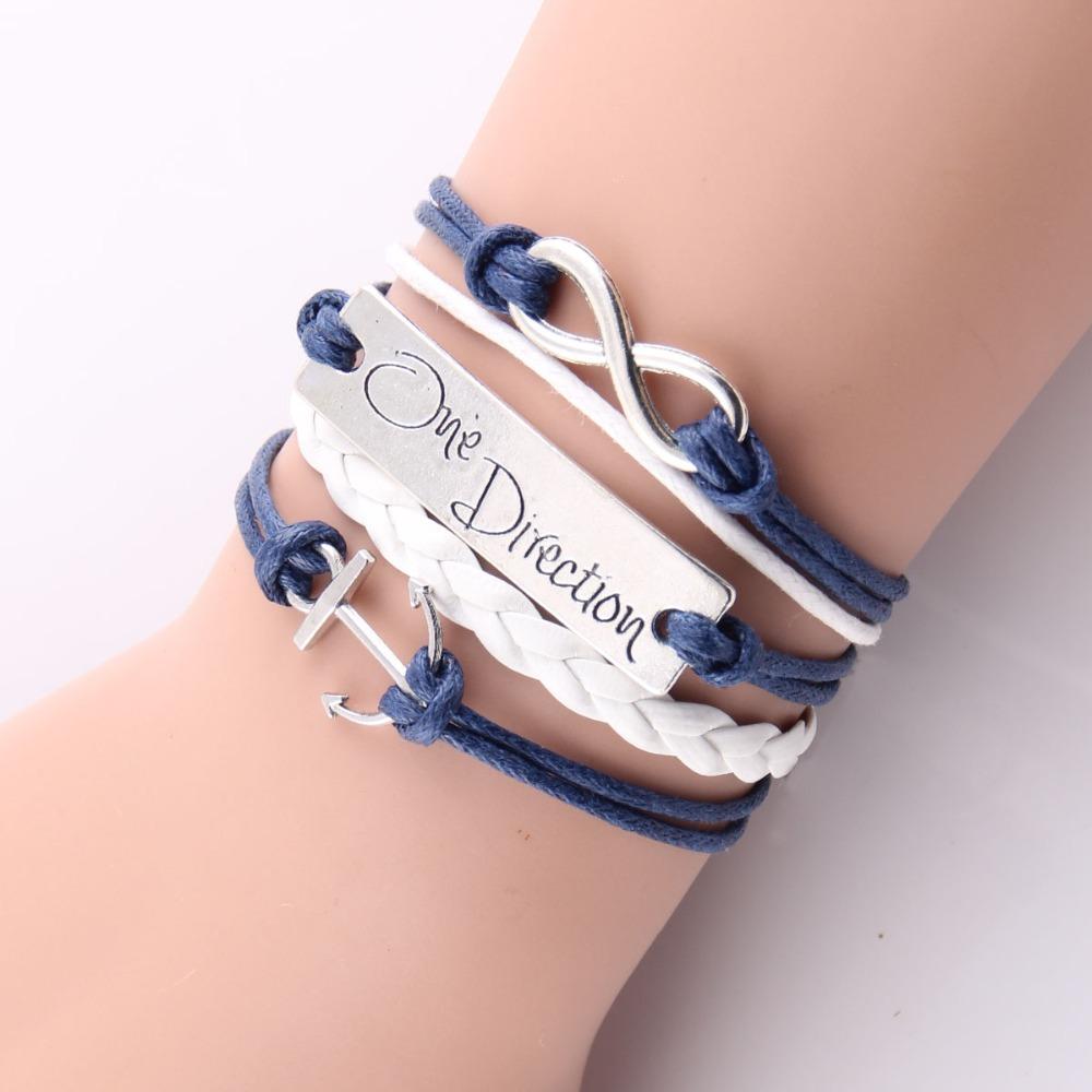 (10pcs/Lot) Infinity Love Navy anchor charm leather bracelet wrap bracelets & bangles any color custom made drop shipping 55#(China (Mainland))