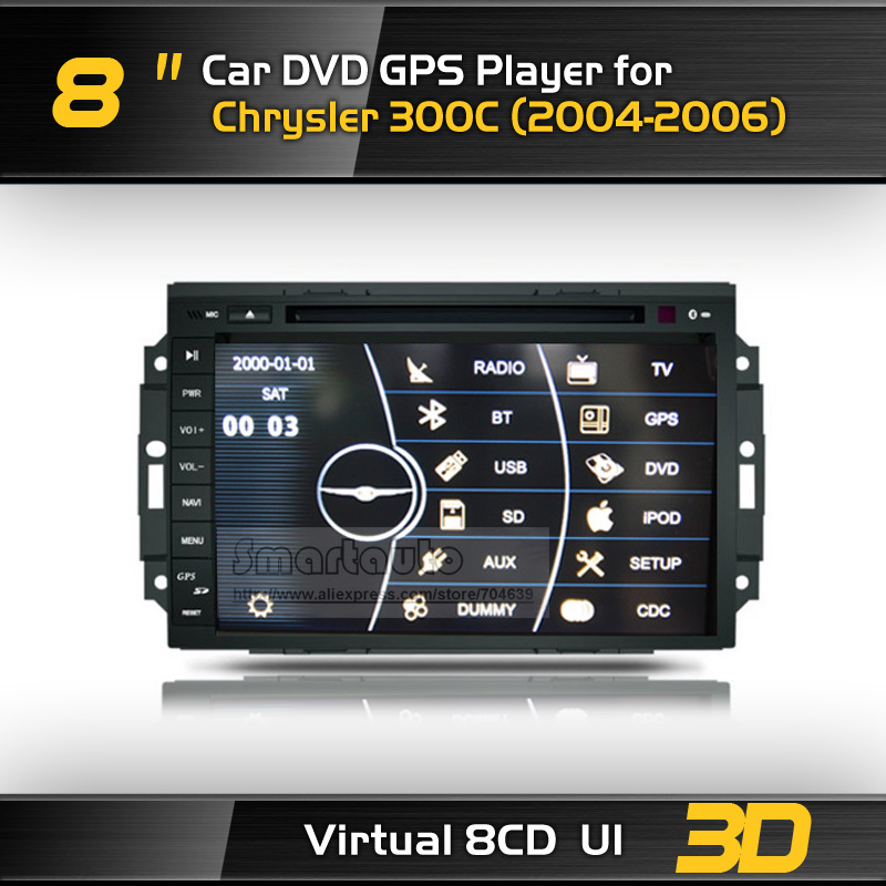 Touch screen 3D UI 8CD,8'' Car GPS DVD for 300C RADIO RDS BT MP5 USB PIP iPod SWC ATV Canbus,Option:Digital TV,Camera,Map(China (Mainland))