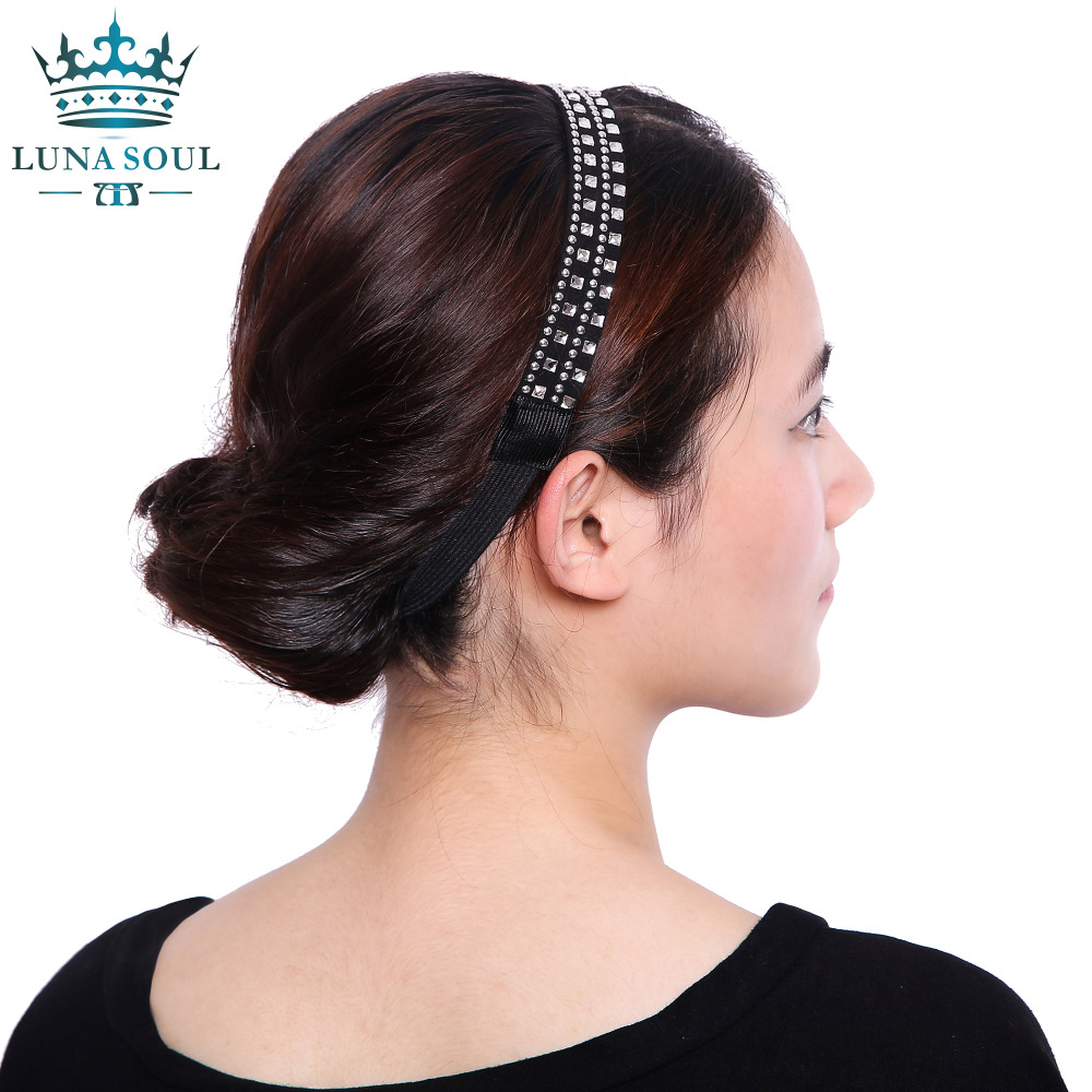 1 pc/lot 2016 LunaSouL New Style Elastic Crystal Rhinestone Leather Headband Hairband Hair Accessories For Women Girl HTD1624(China (Mainland))