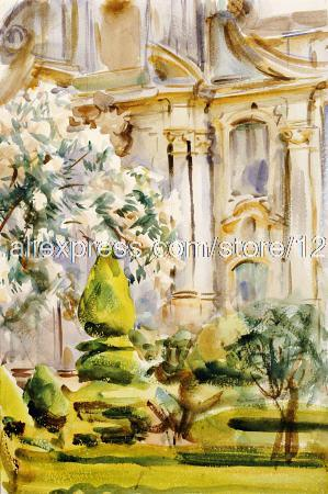 John Singer Sargent Palace And Gardens Spain hand painted home interior wall art wave art decor paintings modern Impress(China (Mainland))