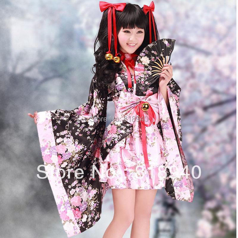 Lolita Kimono Japanese Floral Outfit Fancy Dress Costume Cosplay Maid Waitress(China (Mainland))