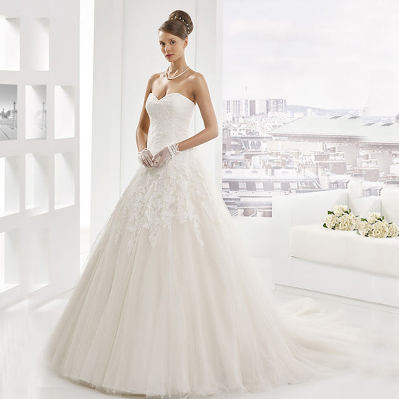 strapless a line chapel train lace applique bridal dress