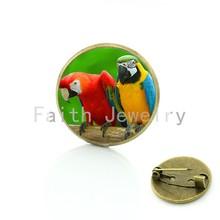 Tafree Burung Lucu Vintage Bros untuk Wanita Kaca Cabochon Dome Seni Gambar Pins Lencana untuk Setelan Sweater Mengukir Hewan Perhiasan BP01(China)