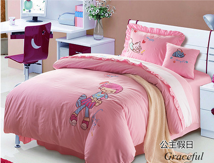 Cartoon Bedding Twin Full Queen 4PCS Cotton Bedclothes / Duvet Cover Set / Comforter Set / BedSheet Girls Vintage Bedding Set(China (Mainland))