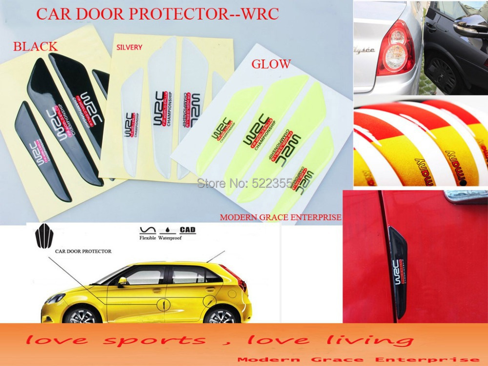 10Set/lot, WRC Car Door Anti Scratch Protector,Flexible Fiber Side Edge Protection Guards Stickers,